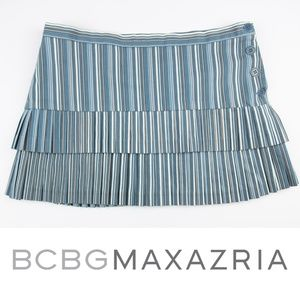 BCBGMaxAzria Pleated Tiered Stripe Mini Skirt 8